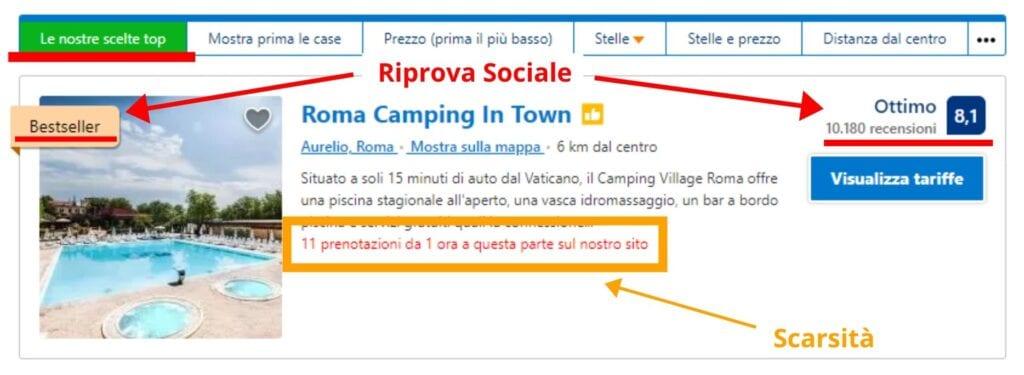 Riprova Sociale e scarsità, i principi di booking.com